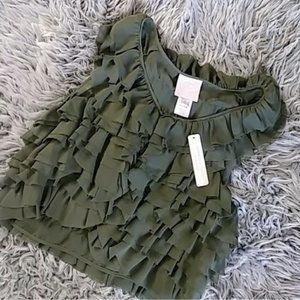 Romeo and Juliet Couture Vest Ruffled Green Womens